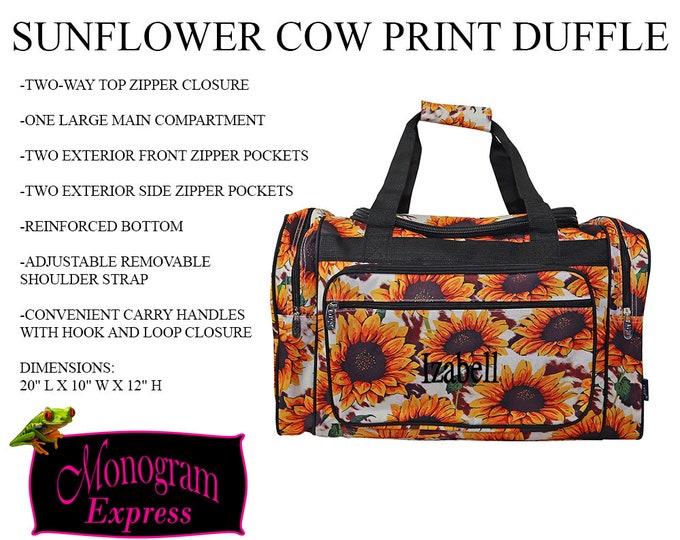 "Sunflower Cow Print Duffle | Personalized 21"" Duffle | Monogrammed Weekend Bag | Girls Travel Bag | Sunflower Farm Bag | Custom Duffle |"