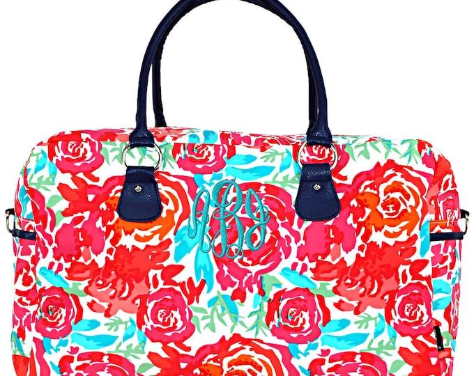Personalized Bridesmaid Gift | Monogram Bridesmaid Gift | Weekender Bag | Large Duffle Bag | Bridesmaid Gift | Floral Meadows Weekender