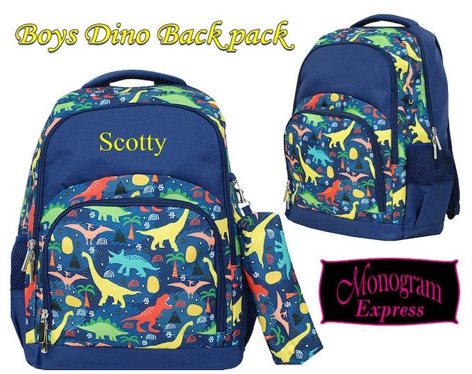 Monogram Backpack | Personalized Bookbag | School Knapsack | Laptop Backpack | Back to School | Preschool Bag | Dinosaur Navy Trim Backpack