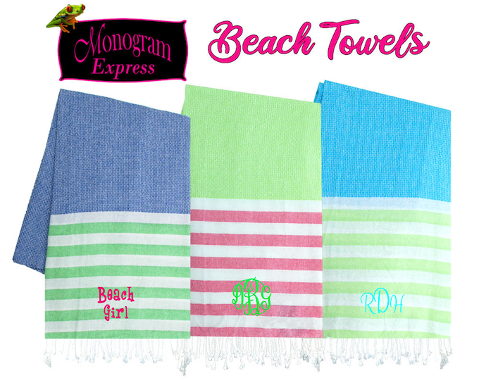 Personalized Beach Towels | Pool Towels | Women's Monogrammed Towels | Customized Kid's Towels | Summer Gifts | Striped Fringe Beach Towels