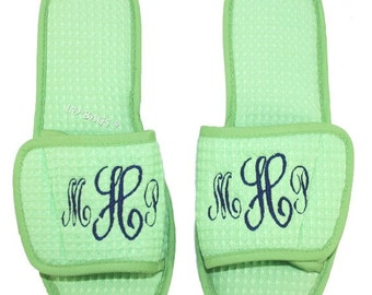 e1e254407a9 Monogrammed Pastel Green Waffle Weave Slippers