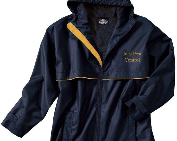 Monogrammed Mens Rain Jacket | Personalized Mens Rain Coat | Hooded Mesh Lined Full Zip Reflective Trim | Rain Slicker | Navy Yellow Trim