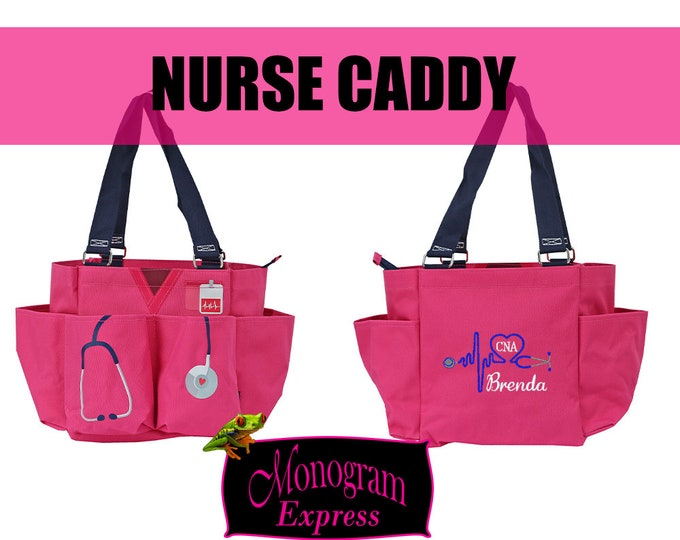 Personalized Nurse Utility Bag | Pink Nurse Caddy | Monogrammed Nurse Bag | Nurse organizer Tote | Heart Stethoscope | Pink Medical Caddy