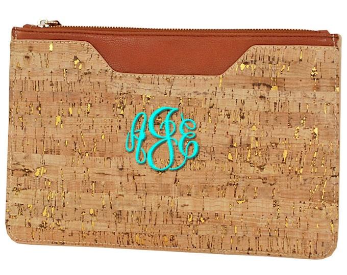 Monogrammed Cork Handbag | Personalized Cork Clutch | Evening Bag | Casual Handbag | Envelope Clutch | Bridesmaids Gift | Brown Cork Clutch