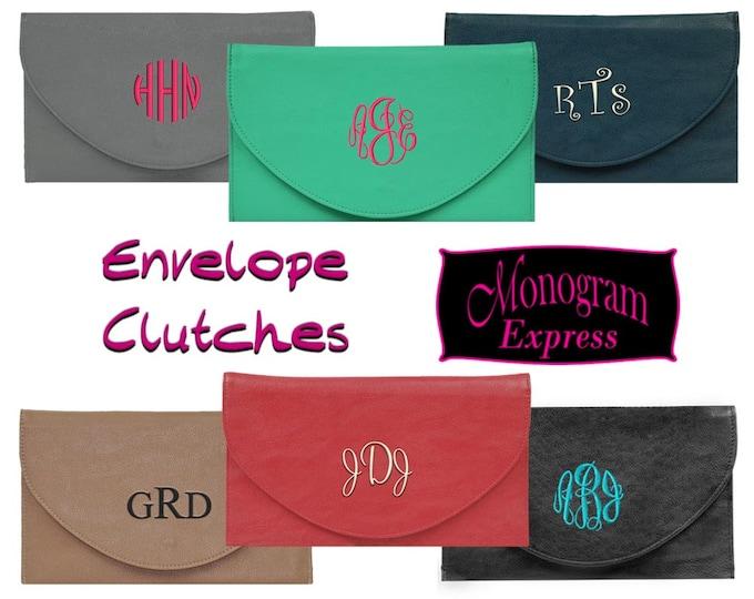 Monogrammed Envelope Purse | Formal Handbag | Embroidered Bridal Party Gift | Custom Gift | Crossbody Bag | Vegan Leather Envelope Clutch
