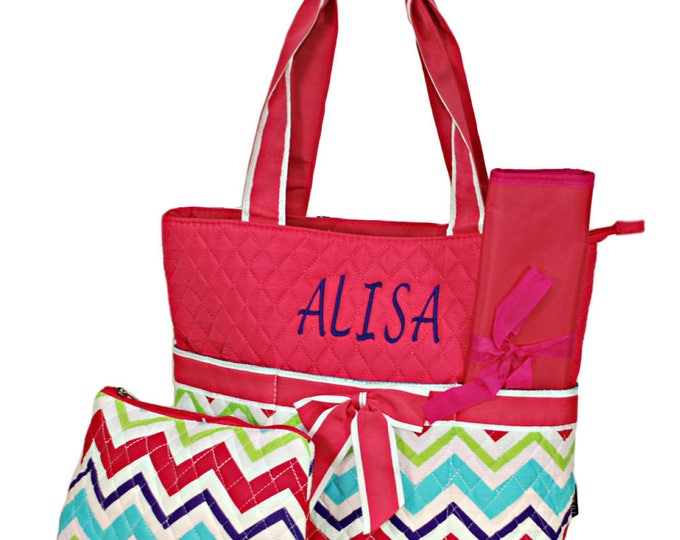 Monogrammed Quilted 3 Piece Multi Chevron Pink Trim Personalized Diaper Bag Nappy Bag Diaper Bag Tote Girls Diaper Bag Toddlers Diaper Bag