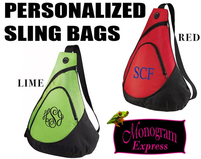 Personalized Sling Bag | Monogrammed Over the Shoulder Backpack | Red Sling Pack | Lime Sling Pack | Family Day Bags | Day Backpack