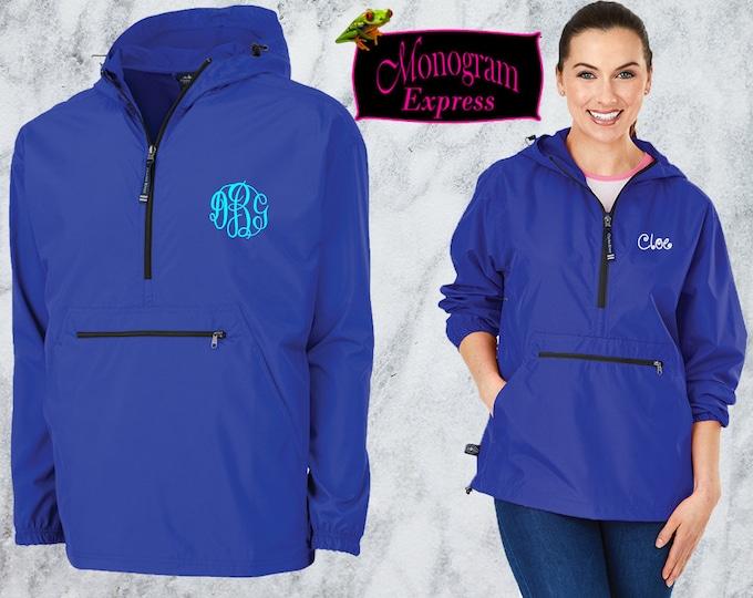 Monogrammed Quarter Zip Pullover | Personalized Adult Unisex Raincoat | Lightweight Hooded Quarter Zip Windbreaker | Royal Blue Pack-N-Go