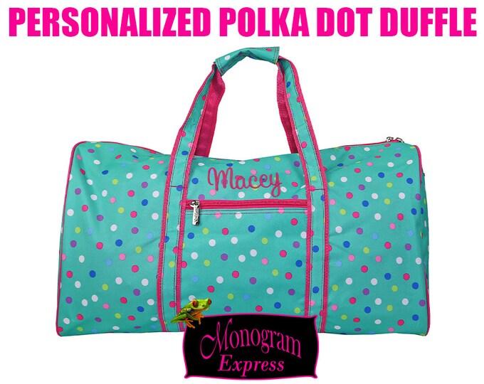 "Personalized Mint 21"" Duffle With Pink Trim | Colorful Dottie Print Duffle | Girls Travel Duffle | Summer Camp Duffle | Lottie Dottie Duffel"
