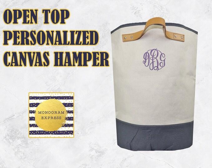 Personalized Laundry Basket | Open Top Canvas Hamper | Custom Gray Canvas Laundry Bag | Canvas Hamper | Monogrammed Laundry Bin | Canvas Bin