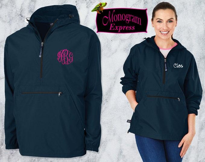 Monogrammed Quarter Zip Pullover Jacket | Personalized Adult Unisex Raincoat | Lightweight Hooded Quarter Zip Windbreaker | Navy Pack-N-Go