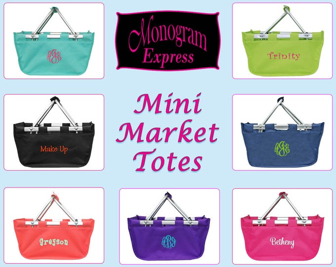 Personalized Mini Market Tote | Monogrammed Mini Market Basket | Bridesmaids Gift | Embroidered Tote | Mini Solid Collapsible Market Basket