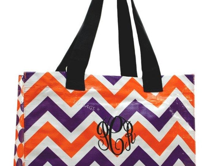 Personalized Tote Bag | Monogrammed Tote Bag | Large Tote | Chevron Tote | Zig Zag Bag | Shopping Bag | Large Chevron Orange and Purple Tote