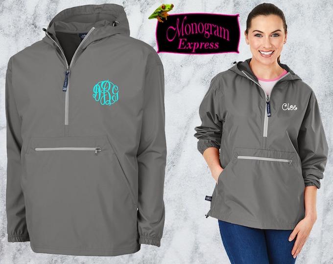 Monogrammed Quarter Zip Pullover Jacket | Personalized Adult Unisex Raincoat | Lightweight Hooded Quarter Zip Windbreaker | Gray Pack-N-Go