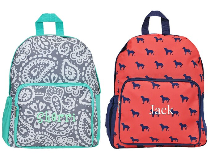 Personalized Girls Parker Paisley Preschool Backpack | Monogrammed Boys Kindergarten Backpack | Customized Toddler Backpacks | Kids Bookbags