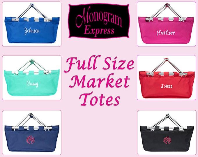 Monogrammed Market Tote | Personalized Market Tote | Picnic Basket | Collapsible Market Basket | Farmers Market Basket | Large Market Basket