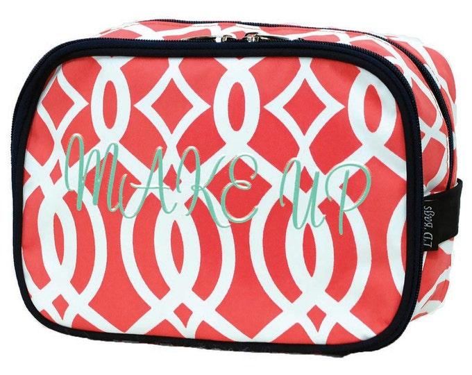 Monogram Makeup Bag   Monogram Cosmetic Bag   Toiletry Bag   Personalized Make Up Bag   Travel Bag   Double Zip Coral Vine Navy Trim