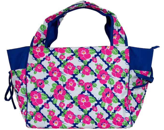 Monogrammed Pocket Tote | Personalized Tote Bag | Water Resistant Tote | Zippered Tote  Bag | Pink Flowered Tote | Casual Balsamine Tote