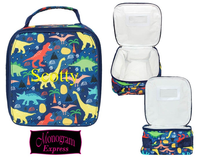 Monogrammed Lunch Bag | Personalized Lunch Bag | Insulated School Lunch Box | Kid Lunch Bag | Girls Lunch Bag | Dinosaur Navy Trim Lunch Bag