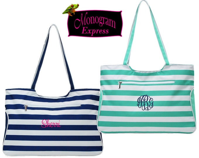 Personalized Stripe Beach Bag | Monogrammed Pool Tote Bag | Zippered Custom Summer Tote | Large Overnight Carry Bag | Striped Tote Bags