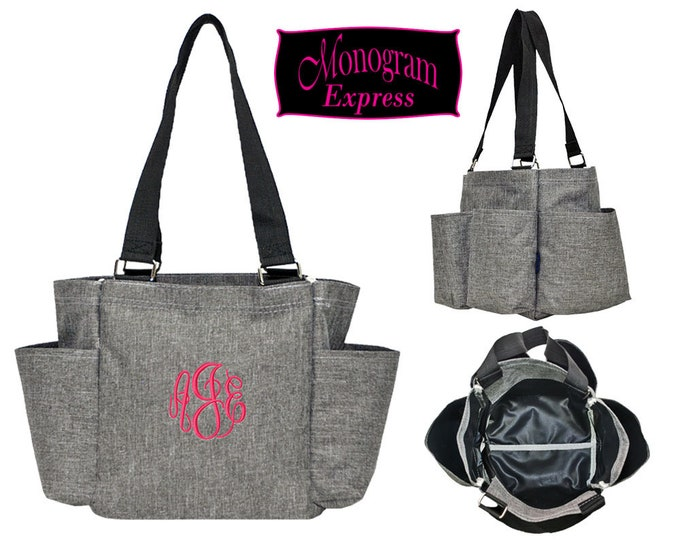 Personalized Utility Bag | Monogrammed Caddy Bag | Grooming Bag | Travel Bag | Shopping Tote | Personalized Gift | Caddy Stone Wash Gray