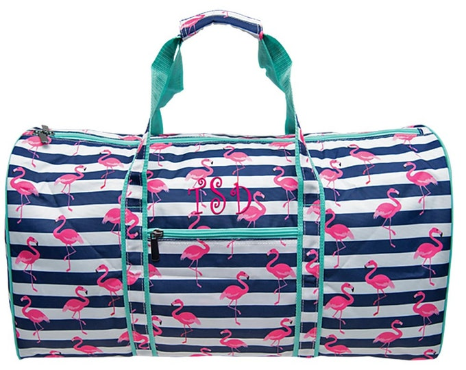 Monogrammed Duffle | Personalized Duffel | Girls Overnight Bag | Women Travel Bag | Weekend Duffle | Birthday Gift | Pink Flamingo Round 21
