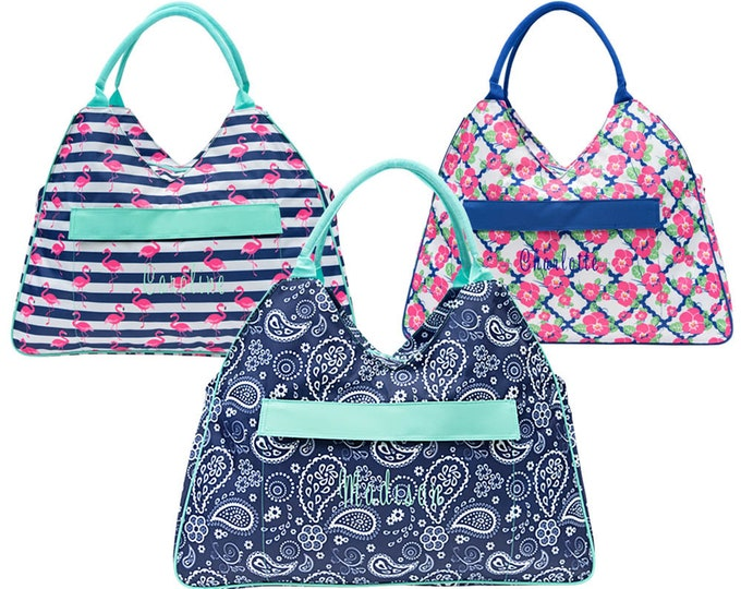 Monogrammed Beach Tote | Personalized Beach Bag | Beach Tote | Zippered Beach Tote | Pool Bag | Summer Tote | Custom Tote | Large Beach Bag