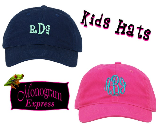 Personalized Kids Cap   Monogrammed Hat   Embroidered Baseball Hat   Child Sun Hat   Unisex Hat   Personalized Gift   Adjustable Kids Cap