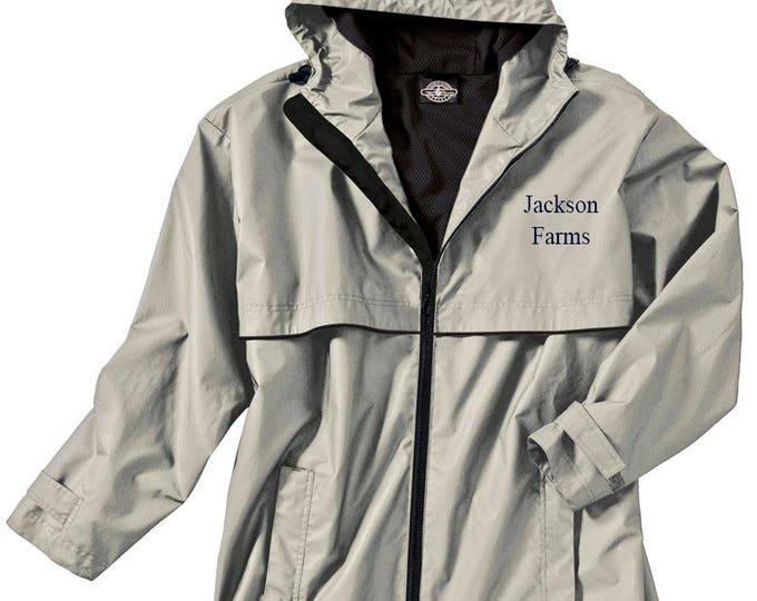 Monogrammed Mens Rain Jacket | Personalized Mens Rain Coat | Hooded Mesh Lined Full Zip Reflective Trim | Rain Slicker | Taupe Navy Trim