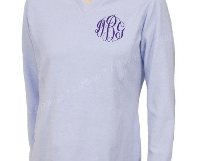 Personalized Fleece Pullover | Monogrammed Fleece | Monogram Pullover | Personalized Fleece Sweat Shirt | Lavender V-Neck Pullover Medium