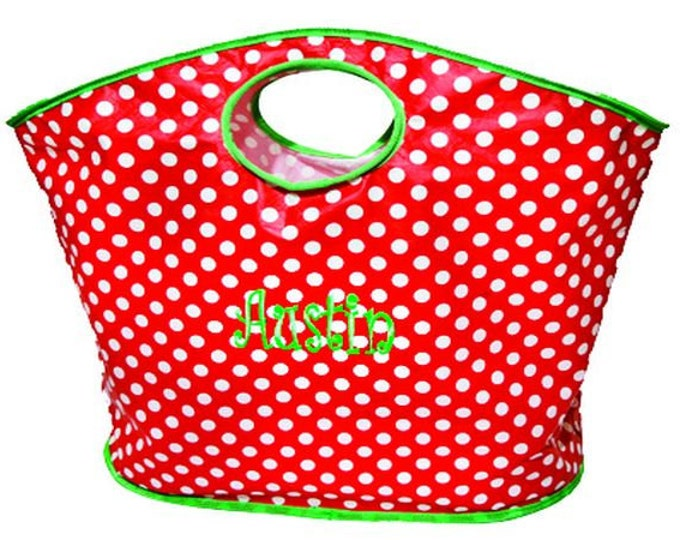 Personalized Tote Bag | Monogrammed Tote Bag | Carryall Bag | Craft Tote | Grocery Tote | Gift Bag | Red and White Polka Dot Lime Trim Tote