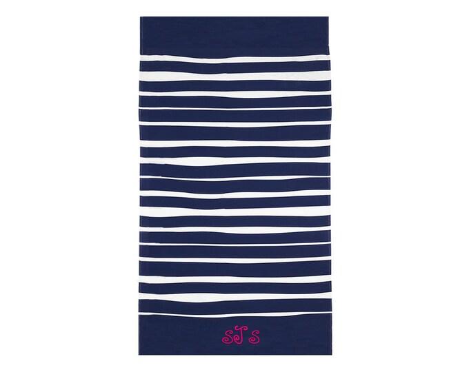 Monogrammed Towel | Beach Towel | Cabana Towel | Pool Towel | Bath Towel | Large Beach Towel | Terry Velour Towel | Blue White Striped Towel