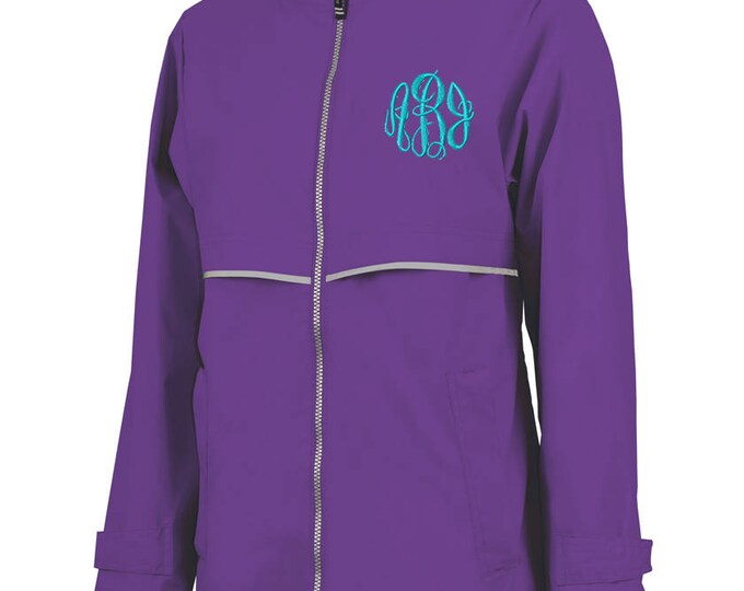 Monogrammed Womens Rain Jacket | Personalized Ladies Rain Coat | Hooded Mesh Lined Full Zip Reflective Trim | Rain Slicker | Violet Grey