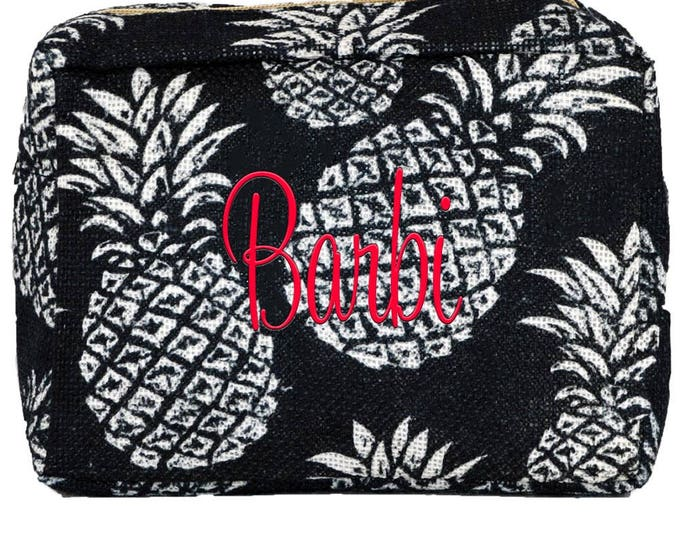 Personalized Burlap Cosmetic Bag   Monogrammed Cosmetic   Bridesmaid Gift   Travel Cosmetic Organizer   Makeup Case   Faded Navy Pineapple