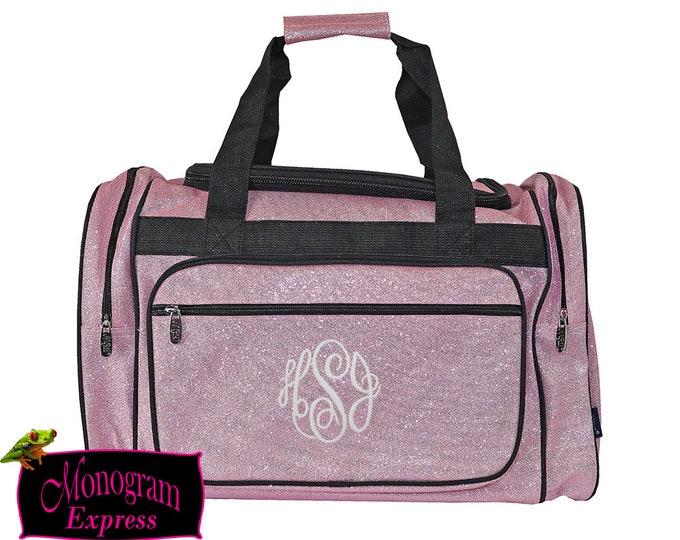 "Monogrammed Duffle | Personalized Duffle Bag | Girls Duffel Bag | Cheer Bag | Dance Bag | Pageant Bag | Glitter Bag | Light Pink Glitter 20"""