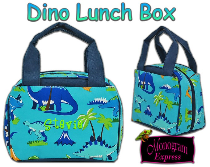 Personalized Dinosaur Navy Trim Lunch Box | Monogrammed Toddlers Insulated Lunch Box | Kindergarten Dino Back To School Everyday Lunch Bag
