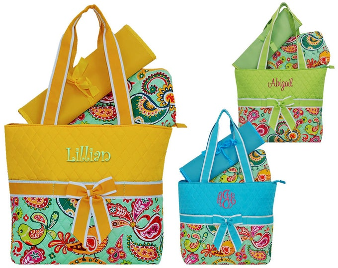 Monogrammed 3 Piece Paisley Bird Diaper Bag | Infant Diaper Bag | Personalized Diaper Bag | Yellow Paisley | Blue Paisley | Green Paisley