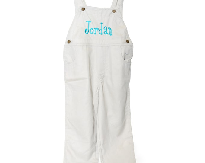Toddler Overalls, Personalized Overalls,  Monogram Overalls, Kids Overalls, Baby Overalls, Cotton Overalls, Tan Toddler Overalls Size 6