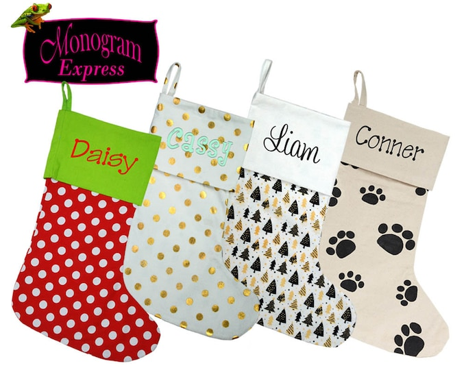 Monogrammed Christmas Stocking | Personalized Xmas Stocking | Custom Gift | Kids | Adults | Pets | Family | Mantle Décor | Holiday Stocking