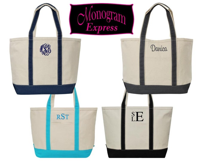 Monogrammed Tote Bag | Personalized Tote | Heavy Duty Boat Tote | Canvas Boat Bag | Personalized Tote | Beach Bag | Medium Canvas Boat Tote