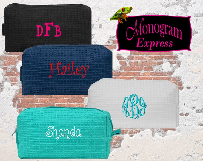Personalized Cosmetic Bag   Monogrammed Cosmetic Bag   Wedding Party Gift    Toiletry Bag   Makeup Bag   Small Waffle Weave Cosmetic Bag