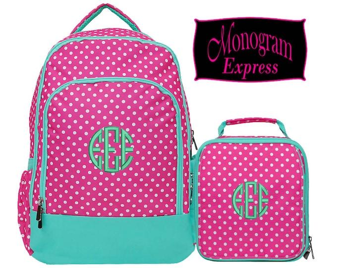 Personalized Hot Pink Polka Dot Mint Trim Backpack Lunch Box Set | Monogrammed Backpack Insulated Lunch Bag Combo | Hot Pink Polka Dot Combo