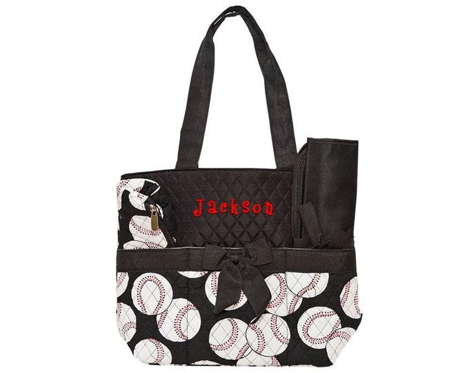 Personalized Toddlers Baseball Diaper Bag | Infant Boys Diaper Bag with Baseballs | Monogrammed Boys Diaper Bag Set | Baseball Black Trim