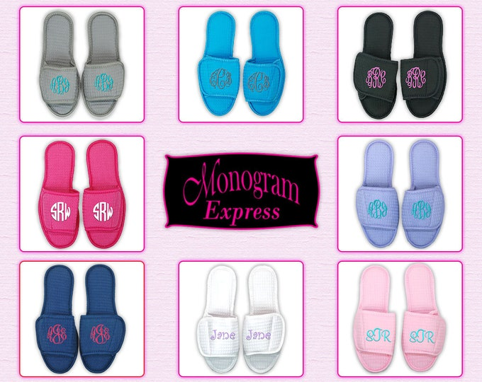 Monogrammed House Slippers Wedding Slippers for Bridal Party Womens Slippers with Soles Personalized Slippers Waffle Weave Slippers