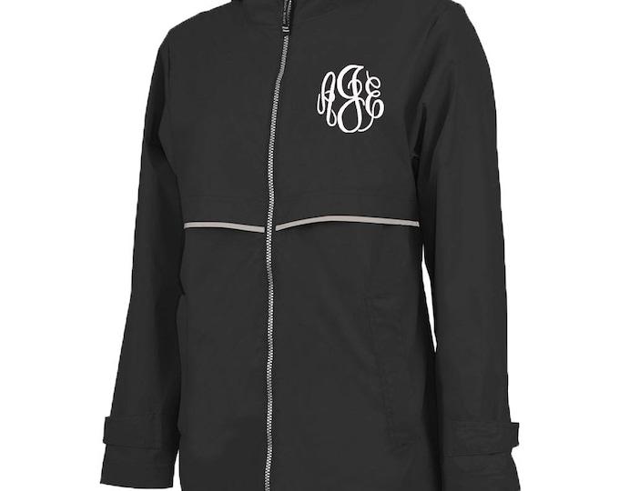 Monogrammed Womens Rain Jacket | Personalized Ladies Rain Coat | Hooded Mesh Lined Full Zip Reflective Trim | Rain Slicker | Black Grey Trim