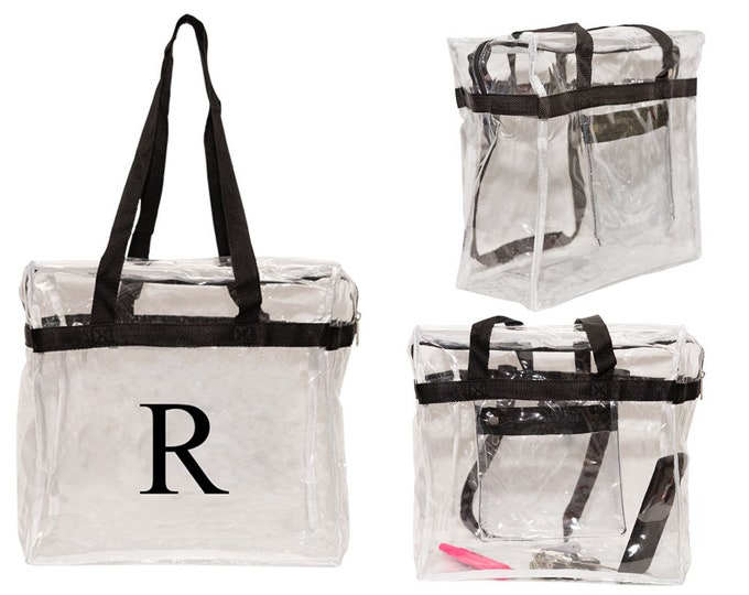 Personalized Tote Bag | Vinyl Shoulder Bag | Clear Sports Event Tote | Personalized Gift | Security Tote Bag | Stadium Approved Clear Tote