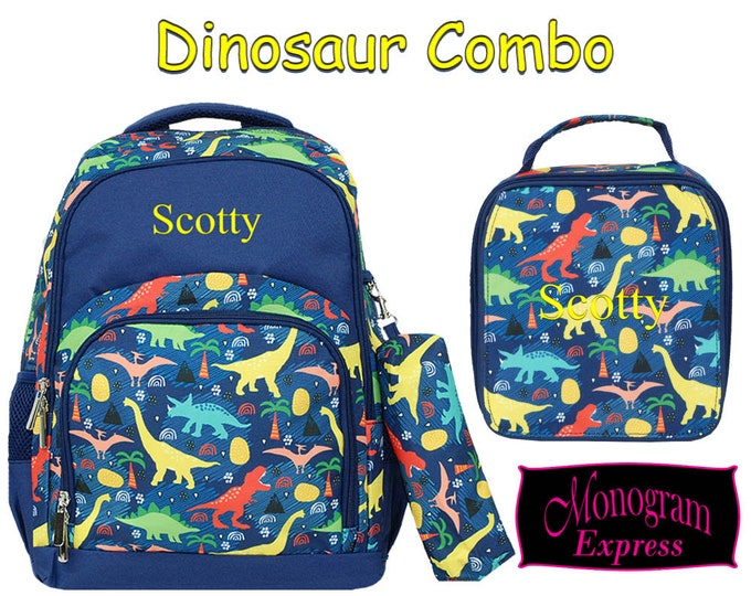 Personalized Dinosaur Navy Trim Backpack Lunch Box Matched Set | Monogrammed Laptop Backpack Insulated Lunch Bag Combo | Navy Dinosaur Combo