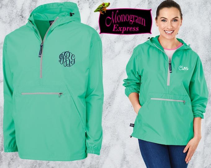 Monogrammed Quarter Zip Pullover Jacket | Personalized Adult Unisex Raincoat | Lightweight Hooded Quarter Zip Windbreaker | Mint Pack-N-Go