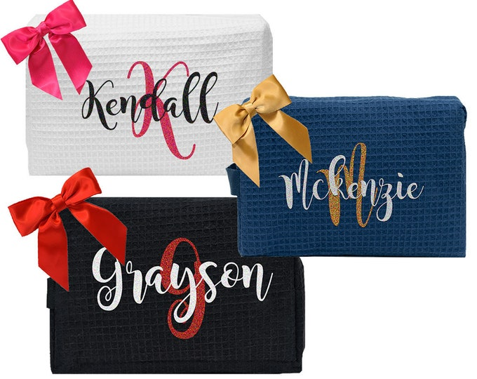 Personalized Bridesmaids Gifts | Monogrammed Bachelorette Gift | Bridesmaids Gift Set | Monogram Bridal Gift | Personalized Cosmetic Bags