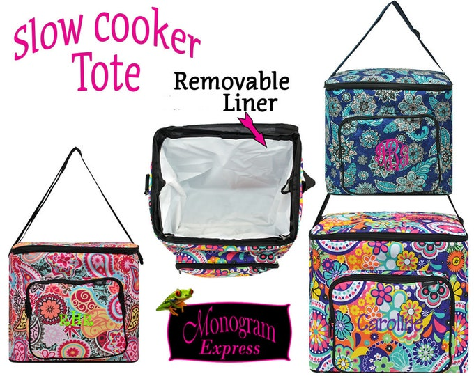 Personalized Insulated Slow Cooker Pot Carrier | Monogramed 5QT Potluck Hauler | Removable Liner | Square Collapsible Hot Cold Food Carrier